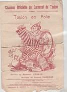 CHANSON OFFICIELLE DU CARNAVAL DE TOULON 1929-      TDA225 - Scores & Partitions