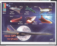 L153 2000 BHUTAN FROM SKY TO SPACE A LITTLE STEP STAMP EXPO 1KB MNH - Space