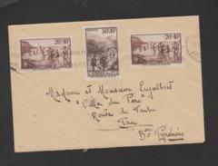 FRANCE / 1937 / Y&T N° 345/347 : Sports & Loisirs (3 TP) - Sur Pli Du 27/11/1938 (voir Empreinte Au Dos) - Marcophilie (Lettres)