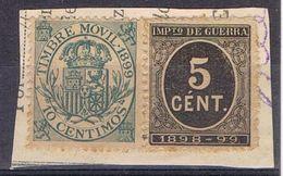 Fragmento Sello Movil 1899 E Impuesto Guerra 5 Cts * - Impuestos De Guerra