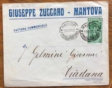 ANNO SANTO 25c. ISOLATO SU BUSTA PUBBLICITARIA GIUSEPPE ZUCCHERO MANTOVA  PER VIADANA IN DATA 13/12/33 - 1900-44 Vittorio Emanuele III