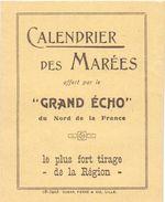 Kalender Calendrier Des Marées - Uren Hoogwater De Panne 1928 - Calendriers