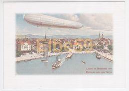 Lindau Im Bodensee (Bayern), Zeppelin über Dem Hafen, Aquarell, Ungebraucht - Dirigibili