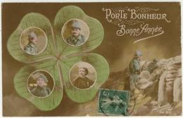 (Guerre 1914-18) 108, La Favorite 90, Porte Bonheur, Bonne Année (poilu), Voyagée En 1918, Pliures - Guerre 1914-18