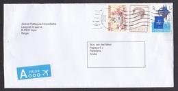 Belgium: Cover To Aruba, 2012, 3 Stamps, NATO, Food, Priority Label, Uncommon Destination (traces Of Use) - Storia Postale