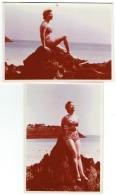 Foto/Photo. Cancale. Femme/Pin Up En Maillot . 1953. Lot De 2 Photos. - Pin-Ups