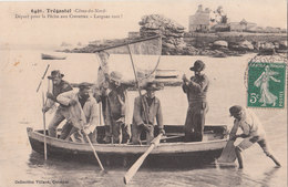 TREGASTEL ( 22 )  Départ Pour La Pêche Aux Crevettes - Larguez Tout  ! ( Port Gratuit ) - Trégastel