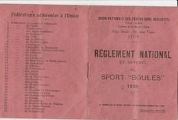 SPORT BOULES REGLEMENT  1930 NATIONAL SIEGE LYON - Documents Historiques