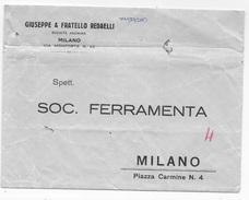 BUSTA COMMERCIALE  DITTA REDAELLI MILANO CON DESTINATARIO PRESTAMPATO - Italia