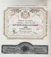 OENOPHILIE 5 ETIQUETTES VINS D'ALSACE - GewurztraminerClub Sommeliers2008, Cave Turckheim2007, E. Preiss, Kaefferkopf200 - Gewurztraminer