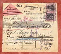 Paketkartenteil, Nachnahme, MiF Germania, Gummersbach Nach Schaulen Russland, AK-Stempel 1913 (42442) - Covers & Documents