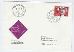 1977 Switzerland MORDEN MOUNTAIN, ALPINE BALLOON SPORT EVENT COVER Stamps Ballooing - Transport