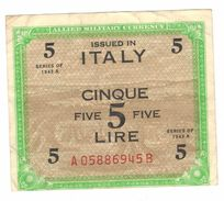 Italy , 5 Lire 1943 A, VF. - [ 3] Military Issues
