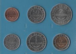BOLIVIA COIN SET 6 MONNAIES: 10 CENTAVOS - 5 BOLIVIANOS 1997 - 2001 - Bolivia