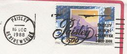 1988 GB Stamps COVER SLOGAN Pmk PAISLEY BURGH CHARTER 1488 1988 - 1952-.... (Elizabeth II)