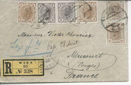 Recommandé De Vienne >> Mirecourt 1907 Timbres (82, 83, 98)x2 - 1850-1918 Imperium
