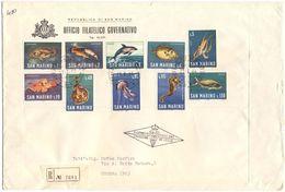 SAN MARINO - 1966 - FAUNA MARINA - FDC - Ufficio Filatelico Governativo - RACCOMANDATA - FDC