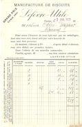 FACTURE 1925 LEFEVRE UTILE MANUFACTURE DE BISCUITS GRAND PRIX PARIS 1900 - OBLET CHAUNY - Levensmiddelen