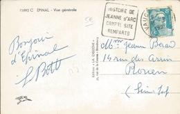 """Meuse : CPA D'Epinal Avec Flamme Daguin """"Histoire De Jeanne D'Arc-crypte-site-remparts"""" De Vaucouleurs De 195? - Marcophilie (Lettres)"""