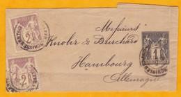 1878/1906 Bande De Journal Type Sage 1 C Avec Complément D'affranchissement Pour L'Allemagne - 1 Centime  YT N° 83 - France