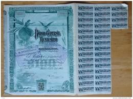 Banco Central Mexicano. Banque Centrale Du Mexique. Action De 100 Pesos 1905. - Bank & Insurance