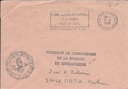 """Meuse : Enveloppe De Gendarmerie Avec Flamme De Bar-le-Duc """"Foire Aux Vieux Papiers"""" De 1986. - Marcophilie (Lettres)"""