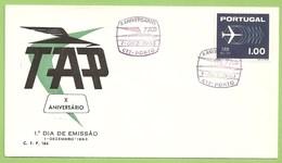 Lisboa - Envelope Comemorativo - X Aniversário Da TAP, 1963 - Aviação - Avião - Filatelia - Philately - Portugal
