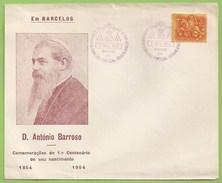 Barcelos - Comemorações Do 1º Centenário Do Nascimento De D. António Barroso, 1954 - Envelope Comemorativo - Filatelia - Portugal