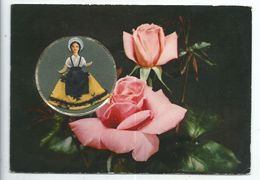 Carte Brodee Poupée Provencale - Carte Parfumée Vallazur Grasse - Parfum Rose De Fragonard - Brodées