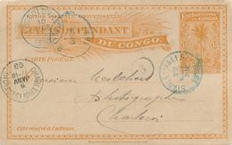 CONGO BELGE / BELGISCH CONGO -  1899 , STANLEY FALLS Nach Charleroi - Ganzsachen