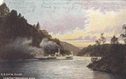 Original 1905 PC - SS Sir Walter Scott Steamship Leaving Trossachs Pier - Torn Corner - 2 Scans - Ferries