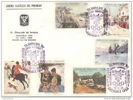 DECIMA OLIMPIADA DE INVIERNO GRENOBLE 1968 FDC SOBRE PARAGUAY RARE SISLEY BREITNER PISSARRO UTRILLO BRUEGEL - Winter 1968: Grenoble