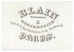 CARTE PORCELAINE-- Litho 19° -- PORCELEINKAART -- BLAIN -- TAILLEUR - 5 RUE D'AMBOISE -- PARIS-- - Petits Métiers à Paris