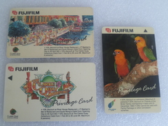 Singapore Phonecard -Set Of 3 Fujifilm Privilege Card Clarke Quay & Jurong Birdpark (#102) - Phonecards
