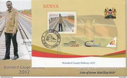 "2017 Kenya NEW ISSUE! Standard Gauge Railway ""SGR"" Train - Built By China May 31 Souvenir Sheet FDC - Trains"