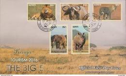 2017 Kenya NEW ISSUE! The Big 5 - May 10 - Lion Leopard Elephant Rhino Buffalo Complete Set Of 5 On FDC - Kenya (1963-...)