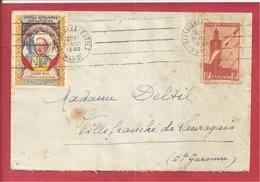 Y&T N°PA44+VIGNETTE TIRAILLEURS CASABLANCA  Vers  FRANCE   1940 3 SCANS - Luchtpost