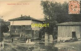 55 Triaucourt, Le Moulin, 2 Femmes Et Fillette En Avant...., Affranchie 1912 - Sonstige Gemeinden