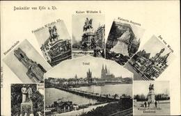 Cp Köln Am Rhein, Denkmäler, Bismarcksäule, Kolping, Jan Von Werth, Kaiserin Augusta, Kaiser Wilhelm - Autres