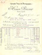 FACTURE 1924 HENRI PRIEUR MEURSAULT GRAND VINS DE BOURGOGNE MERCUREY POMMARD BEAUNE - OBLET CHAUNY - Alimentaire