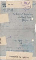 India  WW2   Calcutta Censored  Forces Aerograme  To UK  #  01491    Inde Indien - India (...-1947)
