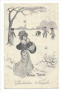 17792 - Bonne Année Glückliches Neujahr Par Bressler Femme Chapeau Et Enfants Dans La Neige - Nouvel An