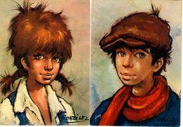 2 CPM Les Poulbot Parisiens : Série Les Gamins D'Antonio Gonzales - Portraits