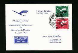 A4958) Bund Sonderkarte Zur Eröffnung Luftverkehr 1.4.55 M. Mi.205-206 - Briefe U. Dokumente