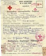 1944- Message Croix Rouge  De Tunisie  Pour La France - Guerra De 1939-45