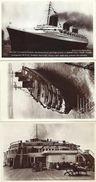COMPAGNIE TRANSATLANTIQUE-PAQUEBOT-NORMANDIE-DEPART POUR NEW YORK-EN MER-LES PLAGES ARRIERE-PONT-TRANSAT-CHEMINEES- - Paquebote