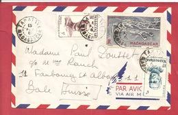 Y&T N°314+318+PA63 TAMATAVE   Vers  SUISSE 1951 - Madagascar (1889-1960)