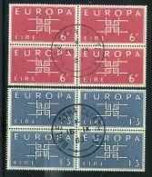 EUROPA  1963  IRLANDE : Y&T  N°  159/160  EN  BLOC  DE  QUATRE  OBLITERE  C-A-D  DU  16  SEPTEMBRE  1963 , A  SAISIR - Europa-CEPT