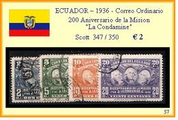 """ECUADOR  1936 - 200°  ANIVERSARIO DE LA MISION """"LA CONDAMINE"""" - Ecuador"""