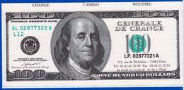 1 SPÉCIMEN VRAIE FAUSSE MONNAIE FRANKLIN 100 ONE HUNDRED DOLLARS FEDERAL RESERVE NOTE GENERAL DE CHANGE FANTAISIE FICTIF - Etats-Unis